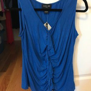 Blue Tank with Front Frill - Petite Large